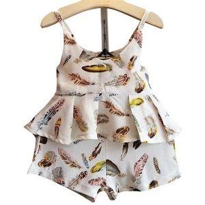 Toddler Girl Matching Clothing Set - Feather